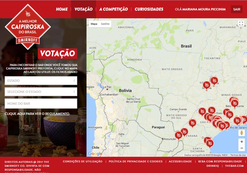 Na imagem, a tela inicial em que você deve procurar a caipirinha pra votar, da votação no Concurso Caipiroskas Smirnoff.