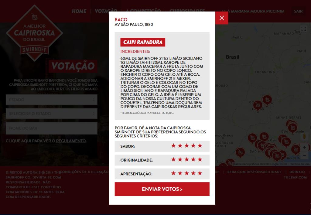 Na imagem, a tela de votação da Caipi Rapadura do Baco gastrobar, no Concurso Caipiroskas Smirnoff.