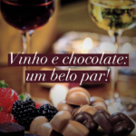Na imagem, vinhos e chocolates, ensinando a harmonizar vinho de diferentes sabores com diferentes sabores de chocolate.