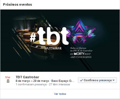 Na imagem, o evento do facebook do TBT Gastrobar.