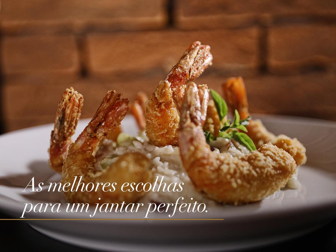 Na imagem, o Camarão Grana Padano, prato do cardápio Sugestões do Chef para abril.
